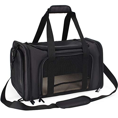 DAWOO Pet Carrier,Cat Carriers Airline-Approved Travel Pet Carrier,Dog Carriers,Suitable for Small and Medium-Sized Cats and Dogs (45 * 28 * 29cm, Black)