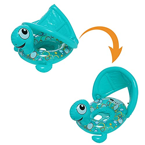 Inflatable Baby Swimming Ring with Awning,Beach Turtle Boat Swim Ring with Sun Shade Canopy,25.6In Kid Inflatable Pool Floats,Baby Floats Pool Rafts Ride-On,Summer Cooling Water Party Toy (Green)