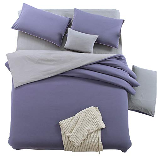 CXLSolid color four-piece set double fight plain color four-piece bedding four-piece set duvet cover polyester cotton soft and durable personality fashion acetate fiber bedding four-piece set