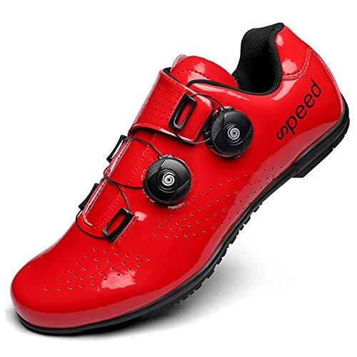 Zapatillas de ciclismo para hombres y mujeres - Zapatillas de bicicleta de carretera compatibles con calas transpirables con calas SPD Calzado deportivo asistido para bicicletas de carreras en