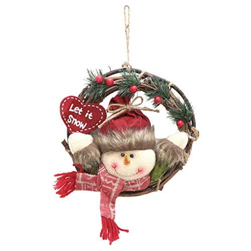 Toyvian 1 Peça de Pingente de Guirlanda de Natal Enfeite de Padrão de Boneco de Neve de Rattan de Natal para Porta de Natal Guirlanda Pendente