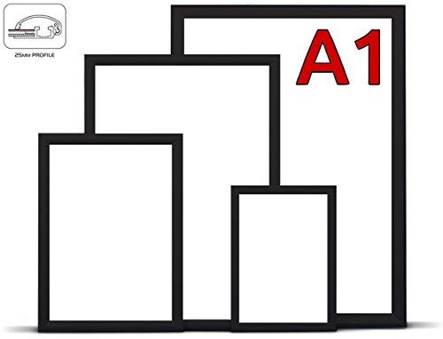 LABT DIN A1 schwarzer Alu Klapprahmen Wechselrahmen Bilderrahmen Plakatrahmen Aluminium mit 25mm Rahmen in schwarz | Größe: DIN A1