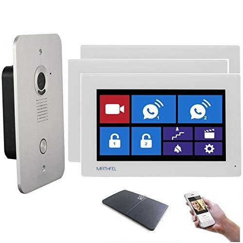 4 Draht Video Türsprechanlage Gegensprechanlage 7'' Monitor Klingel Farb mit oder ohne WLAN Schnittstelle, Farbe: Mit, Größe: 3x7'' Monitor mit WLAN Schnittstelle