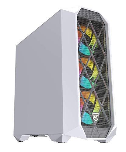 Nfortec Synistra Torre Gaming ATX 3.0 RGB con Frontal Mallado, más de 20 Modos de iluminación e Instalación en Formato Vertical - Color Blanco