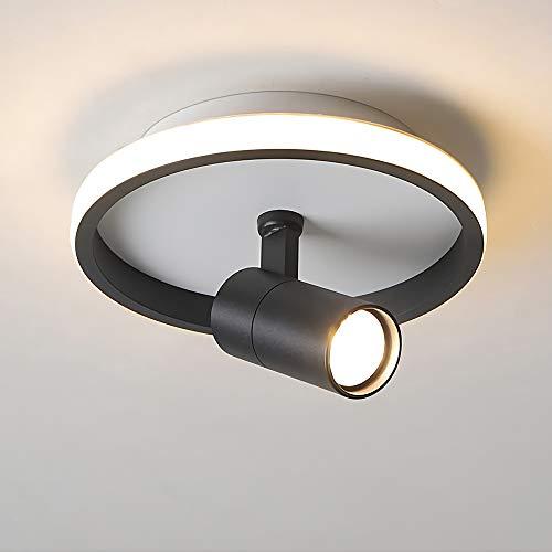 Lámpara LED de techo con foco giratorio y orientable, blanco cálido, 3000 K, redonda, para interior, industrial, 1 foco, lámpara de pared, iluminación de techo (negro, redonda)