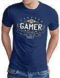 OM3® Video Games Player T-Shirt | Herren | Console Player Gaming Zocker | Royal Blau, S