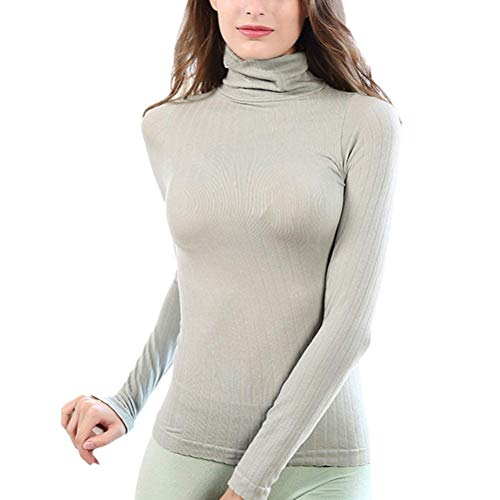 HaiDean Thermotop Dames Winter Warmth T-Shirt Lange Mouw Coltrui Eenvoudige Glamoureuze Pinstripe Skinny Elastische Thermo Thermische Ondergoed Tops