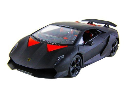 DX Toys 1/18 Scale Officially Licensed Lamborghini Sesto Elemento Radio Remote Control Car Authentic Body Styling with Lights R/C Ready to Run (Black)