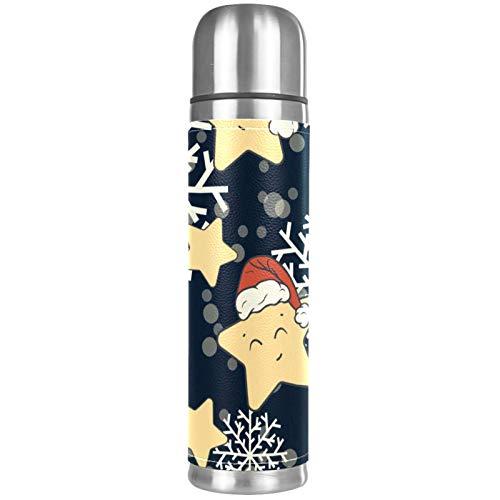 Taza de viaje de café con aislamiento al vacío, botella de agua térmica con tapa integrada, taza de acero inoxidable, a prueba de fugas, diseño de estrellas navideñas y copos de nieve