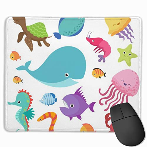Mouse Pad Cartoon Childrens Aquarium and Wild Sea Fishes Gaming Mouse Pad with Non-Slip Rubber Base