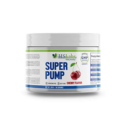 HSLabs Super Pump Pre Workout Powder Nitric Oxide Booster Supplement 30 & 50 Servings 8 Key Ingredients for Explosive Training Alanine Arginine Citrulline Taurine Leucine Carnitine Tyrosine Caffeine