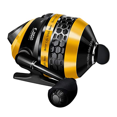 WataChamp Bees Spincast Fishing Reel, High Speed 4.3:1 Gear Ratio, 5+1S.S.D.Stainless Steel Ball Bearings, Reversible Handle for Left/Right Retrieve, with Monofilament Line