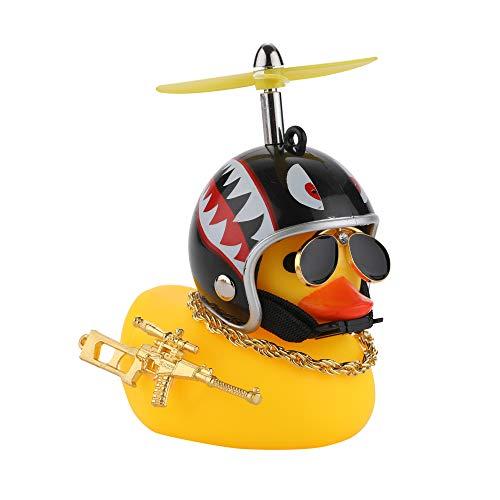 U-Goforst Cute Rubber Duck Toy Car Ornaments Yellow Duck Car Dashboard Decorations Bike Gadgets with Propeller Helmet (Shark)