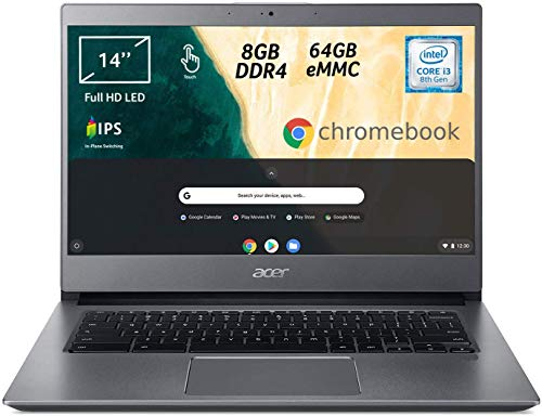 Acer Chromebook 714 CB714-1WT-330E, Touchscreen, Notebook, Processore Intel Core i3-8130U, Ram 8GB, eMMC 64GB, Display 14' FHD IPS Multi-touch LCD, Grafica Intel HD 620, Chrome OS, Grigio, [CB]