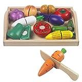Mango Town Holz Obst und Gemüse zum Schneiden Spielzeug Lebensmittel Kinderküche Schneidebrett Obst Spielküche Küchenspielzeug Essen Holzspielzeug für Kinder Jungen Mädchen 3 4 5 6 7