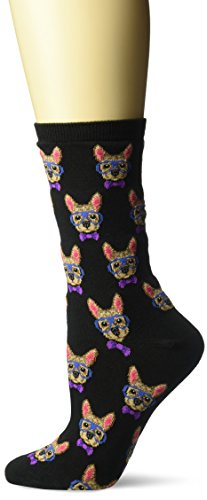 Hot Sox Women's Dog Lover Novelty Casual Crew Socks, Smart Frenchie (Black), Shoe Size: 4-10 (HO002299-C)