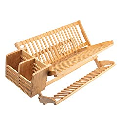 Bamboo dish rack with utensil holder