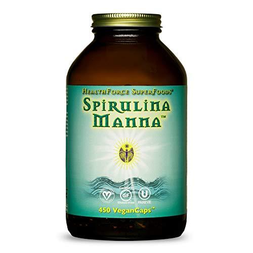 HealthForce SuperFoods Spirulina Manna - 450 VeganCaps - Certified Spirulina, Superfood - Plant-Based Protein, Rich Source of Vitamin A - Non-GMO, Gluten Free - 90 Servings