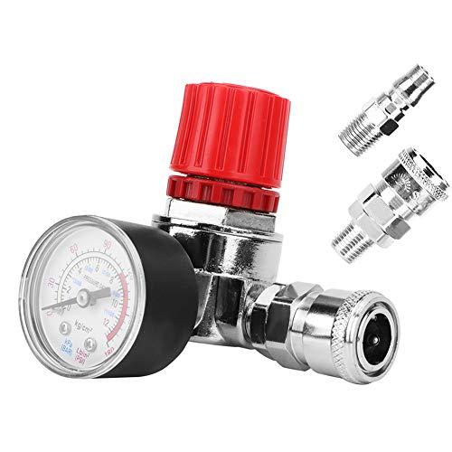 Válvula reguladora de presión, aleación de zinc Regulador de presión Interruptor Válvula de control Manómetro con conector macho/hembra para compresor de aire