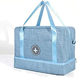 New Handbags Oxford Dry Wet Separation Storage Bag Travel Storage Bag Large Capacity Handbag(Black) (Color : Light Blue)