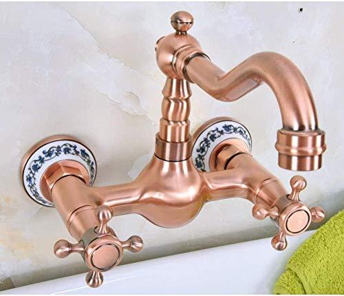 Antiguo cobre rojo latón montado en la pared baño cocina fregadero grifo giratorio caño mezclador grifo doble asas cruzadas palancas