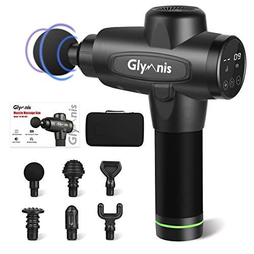 Glymnis Massagepistole Massage Gun mit 6 Massageköpfen und 20 einstellbaren Geschwindigkeiten LCD-Touchscreen Muskelmassagepistole Massagegerät für Schulter Rücken Bein zur Schmerzlinderung