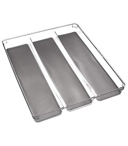 Organizador de cubiertos con 3 compartimentos, organizador para cajón de cocina, resistente, duradero y ecológico (40 x 32 cm)