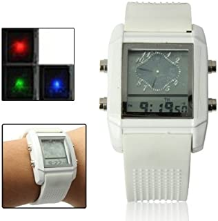 Watch Dual LCD Display Colorful LED Digital Watch/Utility Chronograph Sport Watch, Fashion Watch (Color : White)