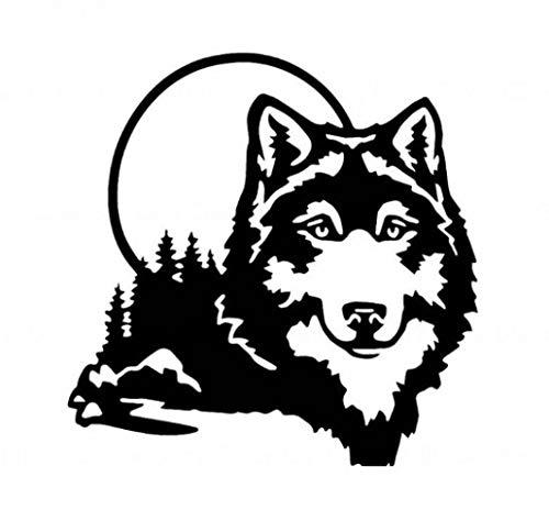 RUIRUI Auto-Aufkleber, Vinyl, Motiv: Wolfsgesicht, lustiger Tier, Hund, 16 x 16 cm