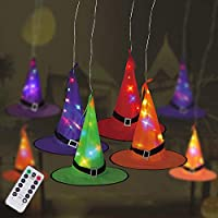 8-Pieces Halloween Witch Hat Hanging Lights ( Multi Color)