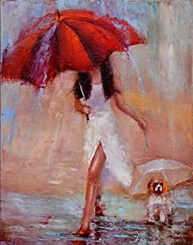 WOMGD® Vrouw met hond met rode paraplu puzzel, houten puzzels 1000 stuk, educatief spel moeilijke uitdaging puzzel voor kinderen volwassenen