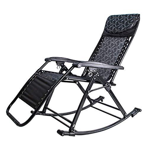 Cama de jardín reclinable Mecedora Plegable Ajustable en Gravedad Cero Tumbona para Exterior Patio Terraza Cubierta para Relajarse Silla de Camping Admite 240 kg (Color: Negro)