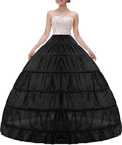 MISSVEIL Women Crinoline Petticoat A-line 6 Hoop Skirt Slips Long Underskirt for Wedding Bridal Dress Ball Gown, Black, One Size