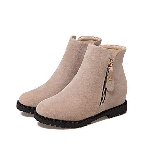 GAOQQ Winter Damenstiefel Wide Calf, Casual Und Komfortable Kurze Stiefeletten EU35.5-41,Apricot-CN37