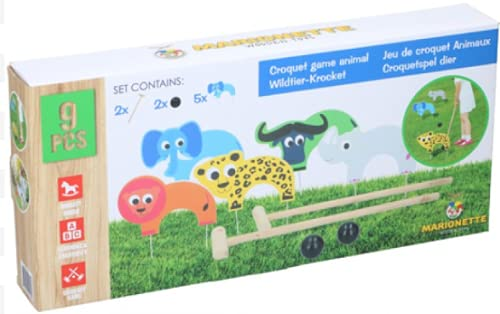 ABRUS Croquet Game Animal | Set of 9 Pieces Animal Game | Outdoor and Garden Game | 5 Bows/Goals 2 Balls 2 Hammers/Sticks | Interactive Game for Kids | Wooden Toys