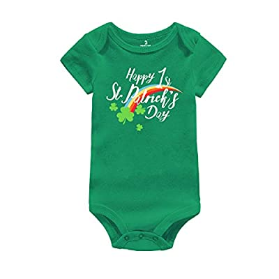 Infant Green Bodysuit 1st St. Patrick's Day Gift Baby Irish Charm Romper Newborn Jumpsuit Outfit (Happy 1st St. Patrick's Day, Suggest for 0-3 Months)