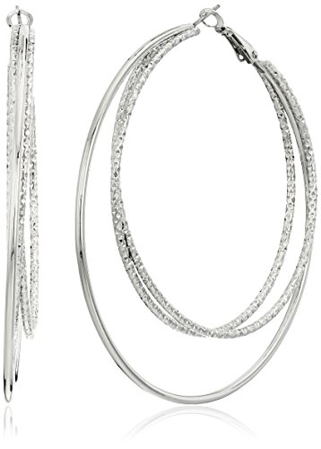 Guess Smooth and Textured Wire Silver Hoop Earrings