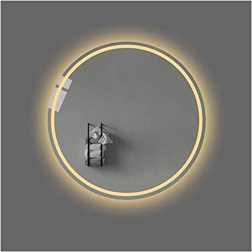 Espejo LED Deluxe - Espejo de baño de iluminación LED de 50 cm, espejo de maquillaje de pared redondo con luz, espejo plateado sin cobre de 5 mm, antie nieño montado en la pared horizontal o vanidad v