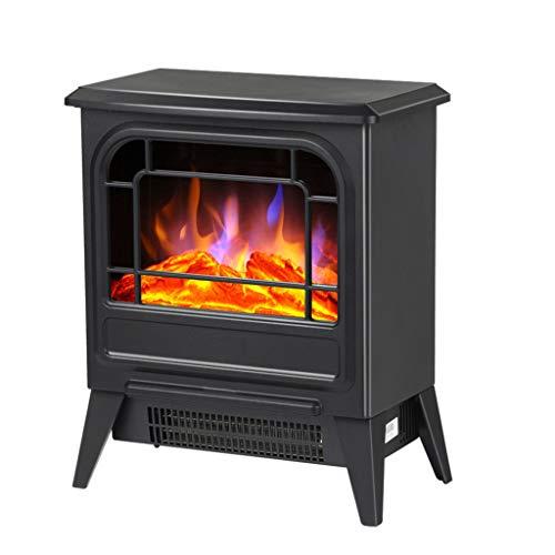 TMY Calentador de calefacción Interior Calentador de Chimenea con Llama de simulación en 3D, Calentador de energía para Oficina doméstica (Negro) (Color : Black)