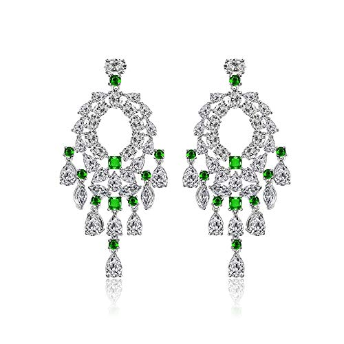 BQZB orecchini zircone orecchini per donne campanelli eolici design della nappa lusso micro pavimenta zirconi grandi orecchini pendenti gioielli di moda