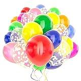 120 Pack Rainbow Balloons + White Confetti Balloons w/Ribbon | Rainbow Balloon | Party Balloons | Helium Balloons | Multi Colored Balloons | Birthday Balloons | Globos para Fiestas | Bright Balloons