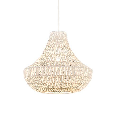 QAZQA - Design Retro Hängelampe | Pendellampe | Pendelleuchte | Esstisch | Esszimmer weiß 50 cm - Lina Cono 50 | Wohnzimmer | Schlafzimmer | Küche - Textil Rund - LED geeignet E27