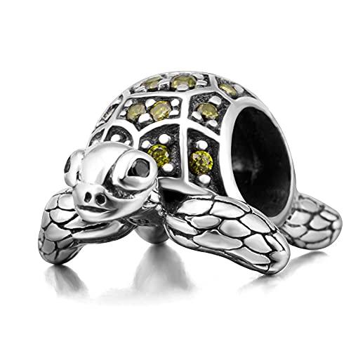 Abalorio de sirena de plata de ley 925 con diseño de gaviota y peces, diseño de cangrejo de tortuga y pingüino para pulsera Pandora, Plata esterlina,