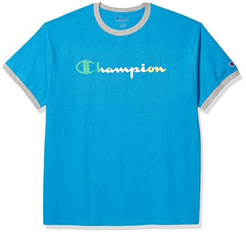 Champion Herren Classic Graphic Ringer Tee T-Shirt, Deep Blue Water/Oxford Grey Heathert, XX-Large