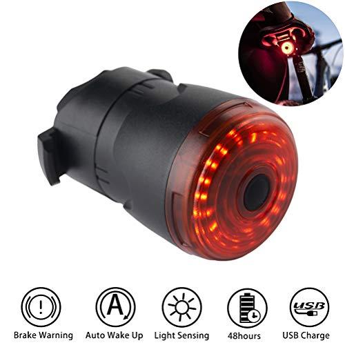 barsku Fahrrad Rücklicht, ultrahelle USB Aufladbar Smart Fahrrad Bremslicht Rücklicht IPX5 wasserdichte LED Beleuchtungsset für Rennrad und Mountainbike