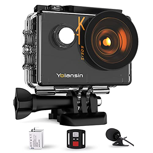 【2021 Upgrade】 Yolansin Action Camera 4K 60FPS 20MP WiFi 40M Waterproof Underwater Camera EIS Sports Camera with 170 ° Wide Angle HD DV Camcorder with 2.4G Remote Control Helmet Camera