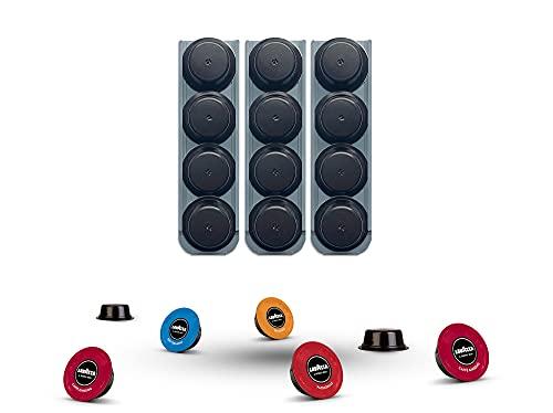 R&R SHOP - Porta Capsule per Lavazza a Modo Mio, Incollabile su ogni Superficie, Compatibile con Capsule a Modo Mio con Adesivi 3M, 4 Capsule cadauno, 100% Riciclabile e Compostabile - Set di 3