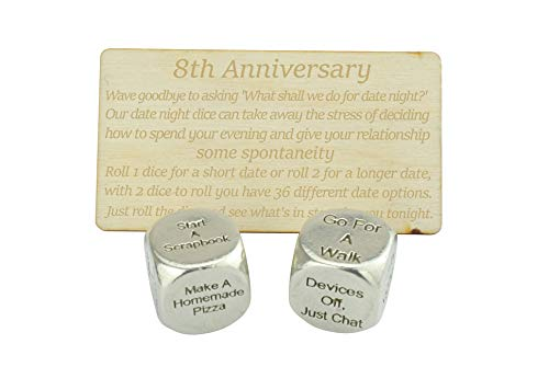 8 Year Anniversary Metal Date Night Dice - Create a Unique 8th Anniversary...