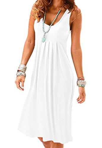 Camisunny Pleated Summer Dress for Women Cotton Sleeveless Vest Dress Cotton Crew Neck White Size XL