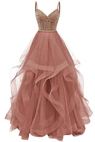 HUINI Abendkleid Lang Elegant Hochzeitskleid Damen Ballkleid Tüll Glitzer Cocktailkleider Schulterfrei Partykleider Altrosa 32